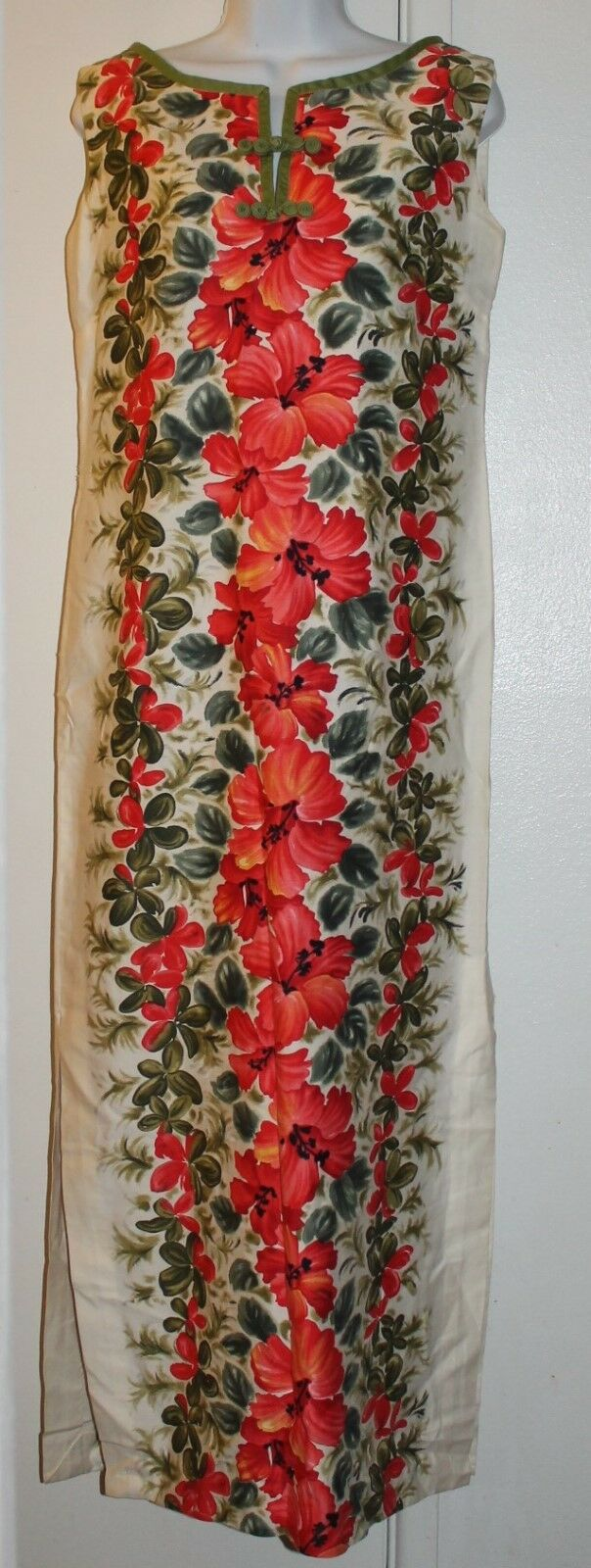 Vtg 50s ELSIE KRASSAS HIBISCUS Hawaiian LUAU Dress Women's Large