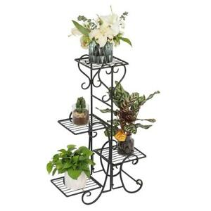 Metal-Plant-Stand-Garden-Decor-Flower-Pot-Shelves-Outdoor-Indoor-Wrought-Iron-US