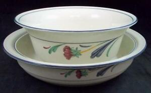 Lenox-POPPIES-ON-BLUE-2-Round-Vegetable-Bowls-8-034-and-9-034-GREAT-VALUE
