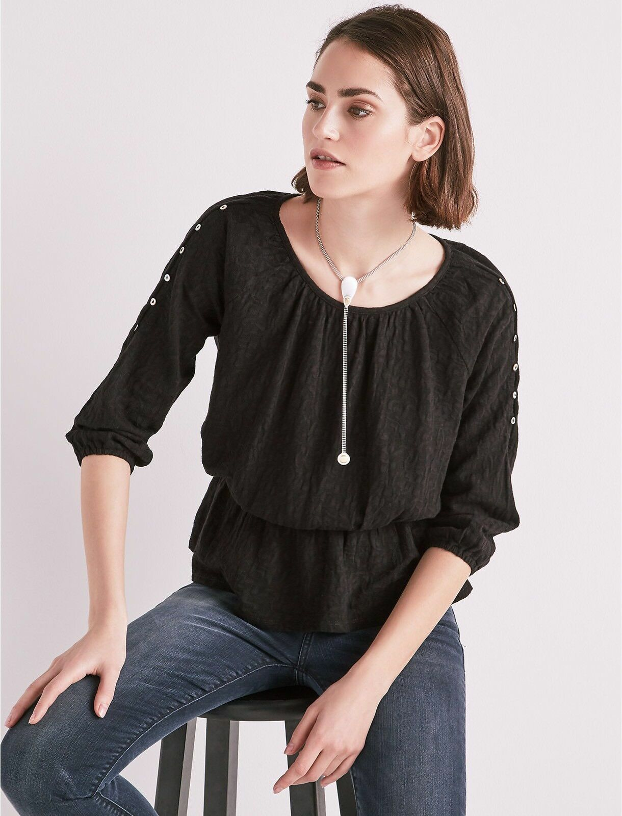 Lucky Brand Top L schwarz Jacquard Cold Shoulder Ruched 3 4 Sleeve damen's NWT
