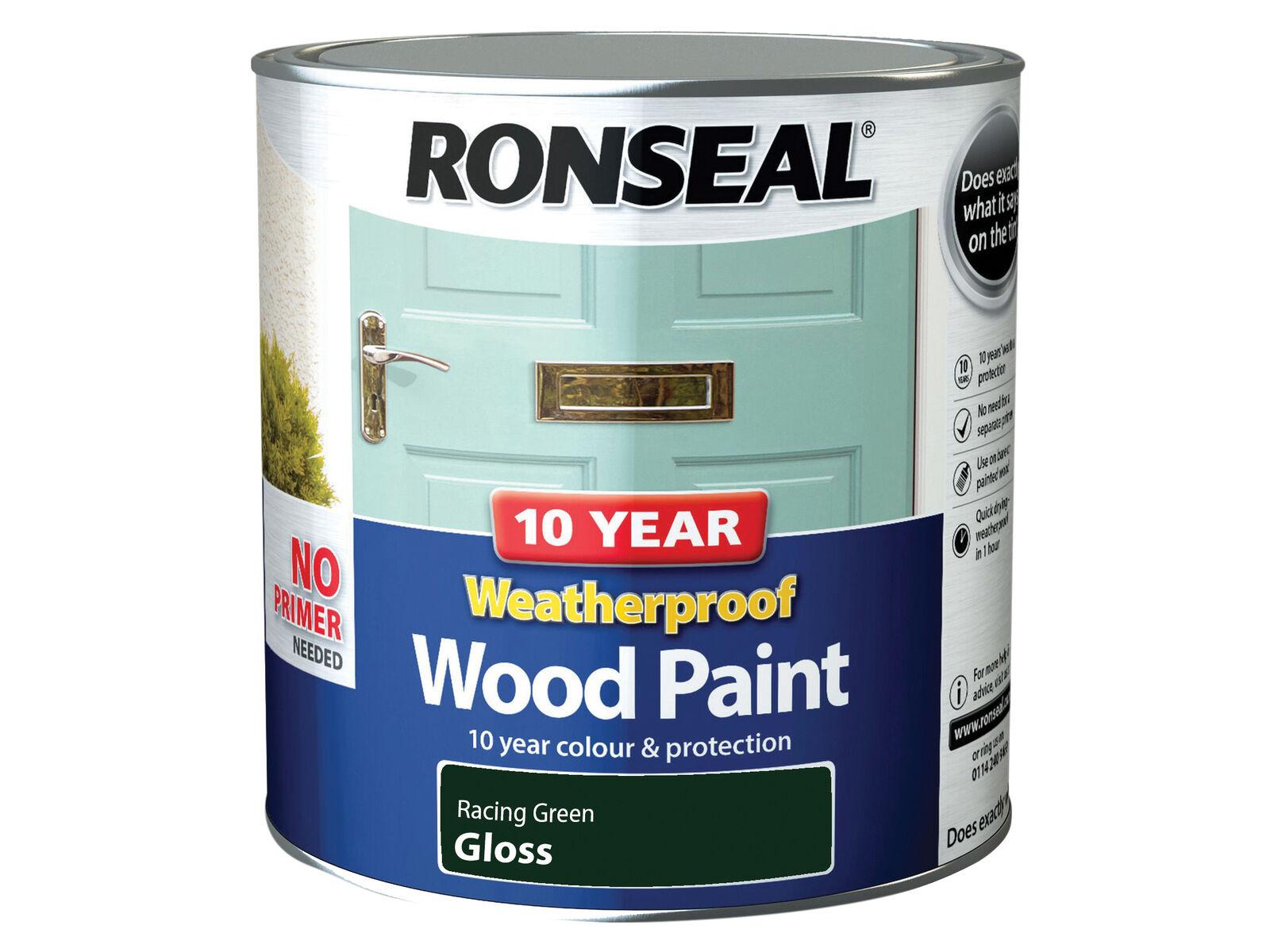 Ronseal 10 Year Weatherproof Wood Paint Racing Green Gloss 2.5 Litre