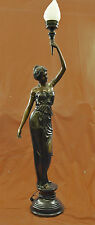 """Signed """"Moreau"""" gorgeous bronze statue lamp, glass, absolutely stunning!! DB"""