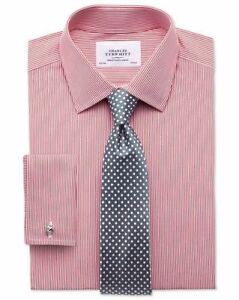 Charles Tyrwhitt Slim Fit non-Iron Bengal Stripe Red Shirt TD079 AC 07