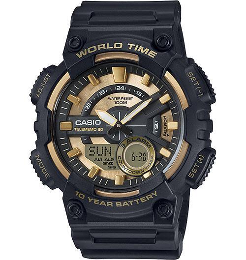 Casio AEQ110BW-9AV, Digital/Analog Combo, 3 Alarms, 30 Telememo, Black Resin