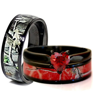 His Her Black Titanium Red Heart Engagement Camo Wedding Rings
