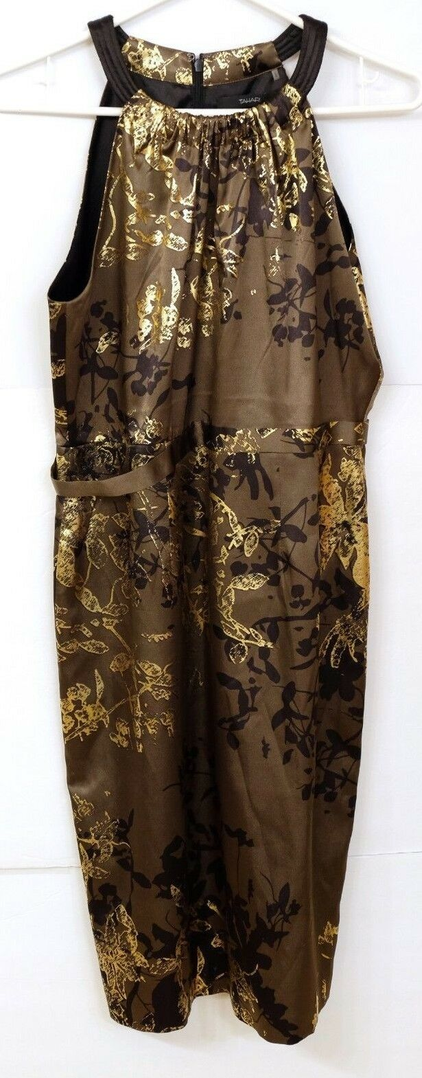 NWT Tahari Women's Size 8 Caramel gold Pearl Sleeveless Belted A-Line Dress MS