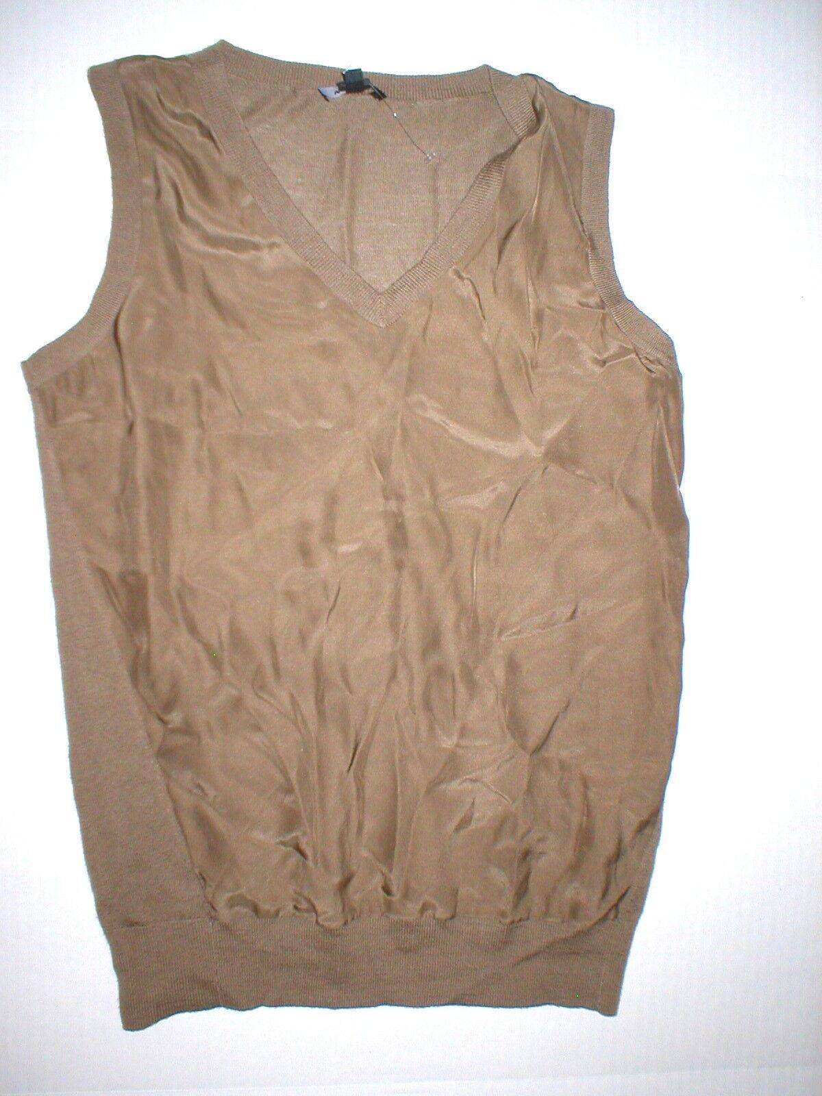 NWT Worth New York Damenschuhe XS Top Designer Silk Wool Braun Sweater Tank Knit NS