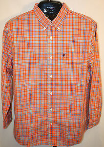 Mens stafford prep orange blue white plaid long sleeve for Stafford white short sleeve dress shirts