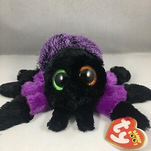 "TY Beanie Baby Halloween Boos 6"" Creeper Viola SPIDER Giocattolo Peluche Animali mwmts"