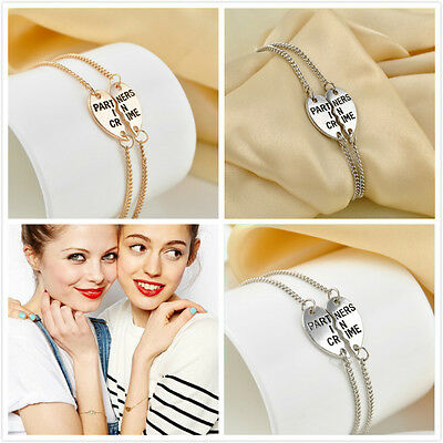 2pcs NEW Gold/Silver Heart Partners in Crime Best Friend BFF Chain Bracelet Gift