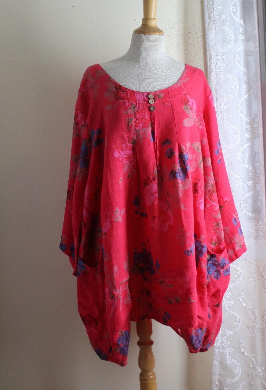100% Lin Weiß -Sz 50 XL 1X Funky Floral Linen French Lagenlook Tunic Shirt Top