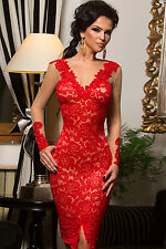 Red Lace Long Dress Club Wear Fashion Evening Wear Size M L