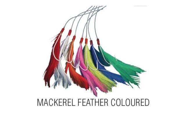 Coloured Shakespeare 7 Hook Mackerel Feather Rig