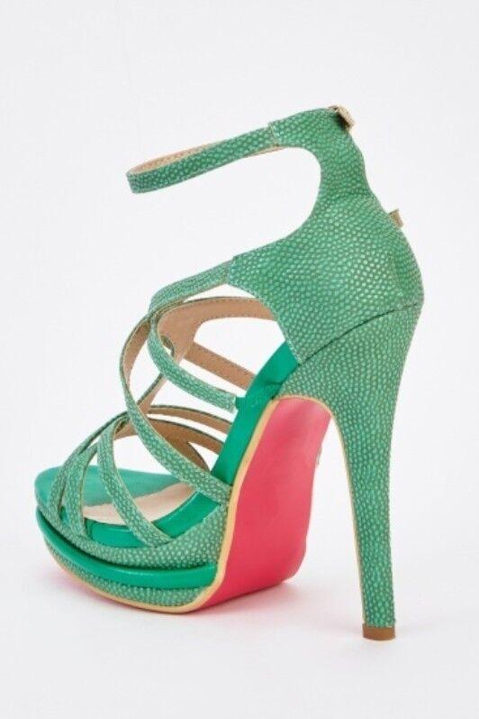 Green strappy heel sandals, UK size 6, Anna Smith