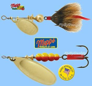 Mepps-Aglia-Gold-Blade-Spinner-Fishing-Lure-Choice-of-Qty-Tail-Size-amp-Weight