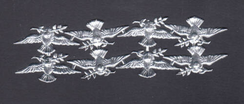 DOVE DRESDEN SCRAP BIRD PAPER FOIL GERMAN SILVER PEACE ORNAMENT CARD CHRISTMAS