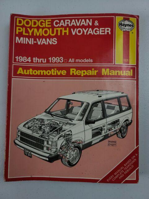 Haynes Repair Manual 1231 Dodge Caravan Plymouth Voyager
