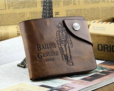 Vintage Style Bailini Hunter Men PU Leather  Bifold Wallet