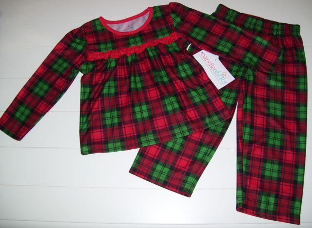 girls candlesticks red and green plaid long sleeve christmas pajamas sz 4t nwt - Plaid Christmas Pajamas