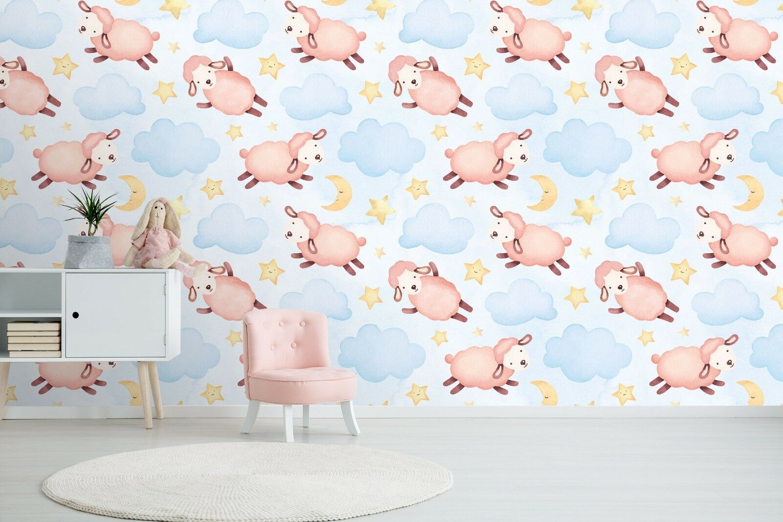 3D Sheep Clouds Stars 453 Wall Paper Wall Print Decal Deco Indoor Wall Mural CA