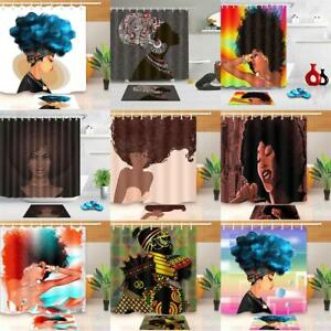 African-American-Black-Women-Bathroom-Shower-Curtain-Waterproof-Fabric-12-Hooks