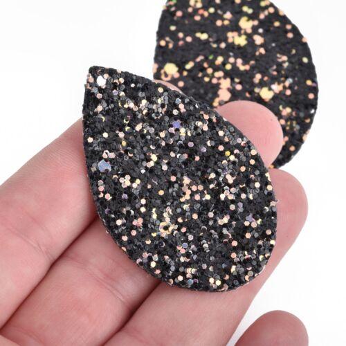 "10 BLACK Faux Leather Teardrop Charms Glitter Vegan Leather 2-1//4/"" chs4203"
