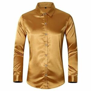 Men-039-s-Shirt-Faux-Silk-Satin-Glossy-Tops-Long-Sleeve-Button-Front-Slim-Fit-Shirts