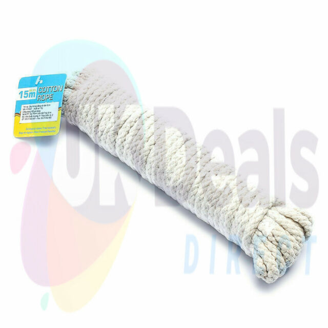 15m x 7mm Heavy Duty Cotton Rope Soft Material ,Resists Kinking Line Rope