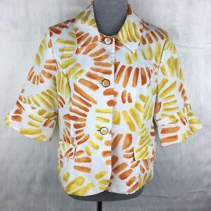 Print 4 Nwt Jakke Princeton Med Sleeve Blazer Orange Flower 3 1 Chicos Power Sz gaxv88