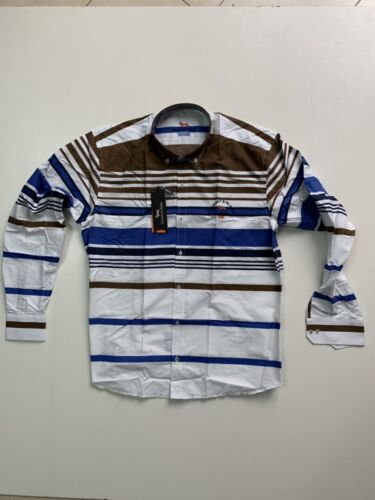 New Men Harmont and Blaine Shirt White With Blue-Brown Stripes - Size XL