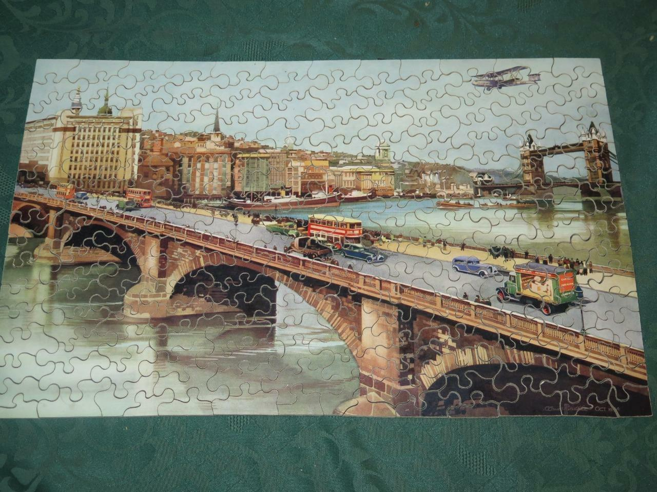VINTAGE CARTER PATERSON WOODEN JIG-SAW PUZZLE London Highways Rare 1st Ed 1934