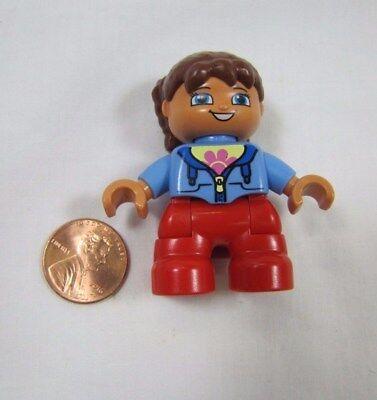 """LEGO DUPLO Brunette Black Hair GIRL TODDLER 2/"""" FIGURE for FAMILY HOME HOUSE Rare"""