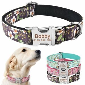 Dog-Collar-Personalized-Floral-Soft-Nylon-Custom-Engraved-Puppy-ID-Name-XS-S-M-L