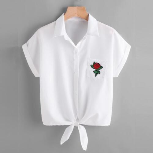 Fashion Women Blouse Ladies Rose Flower Blouse Short Sleeve Shirt Summer T Shirt