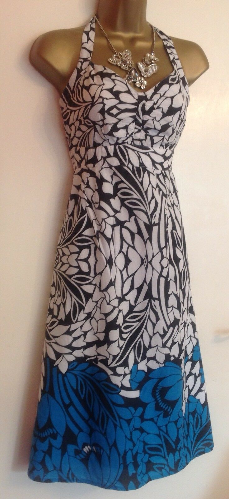 Monsoon Cotton Summer Holiday Leaf Print Wedding Day Dress
