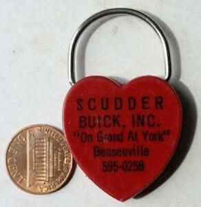 1970s Era Bensenville Illinois Scudder Buick Motor Cars Heart Shaped keychain!