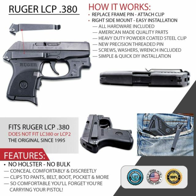 Clipdraw Concealed Holster Replacement Clip for Ruger LCP & Lcp2 Black