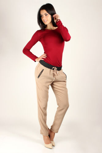 Classic Plain Women/'s Top Stretchy Crew Neck Blouse Jersey Sizes 8-18 4500
