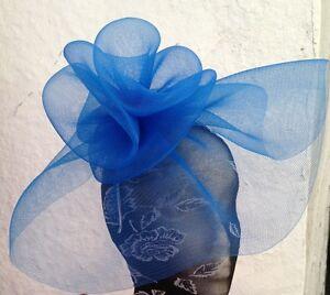 Navy dark blue fascinator millinery burlesque wedding hat hair ascot race