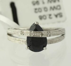 New-Sapphire-Pear-Overpass-Ring-925-Sterling-Silver-Band-Small-Diamonds-Size-7