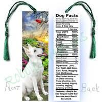 German Shepherd Large 6.5 Bookmark White Dog Facts Art Book Mark Card Figurine