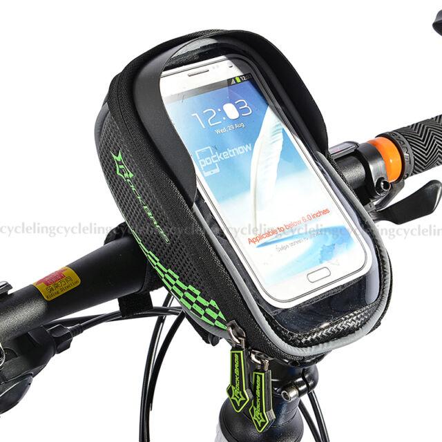 RockBros Cycling Handlebar Bag Fit 5.5' Touch Screen Cell Phone Holder Bag Black