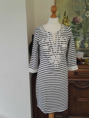 FAB Boden vintage style REANNA JERSEY DRESS blue or striped size 12 14