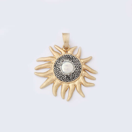 1x Large Silver//Gold White Pearl Beads Sun Shape Charm Pendant DIY Findings