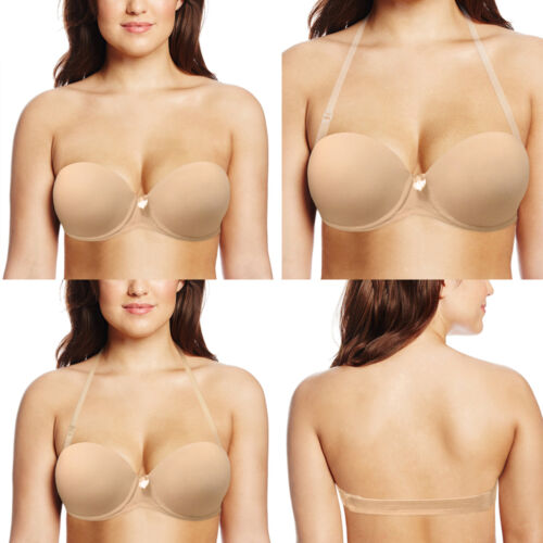 Push Up Strapless Backless Bra Wedding Lingerie Halter Neck Bras 32-42 A-D E F