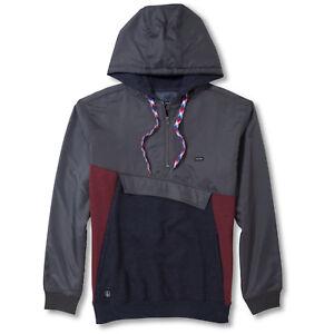 Volcom-mens-surf-skate-activewear-RIPPER-Half-Zip-Grey-Pullover-Hoodie-L-XL-NEW