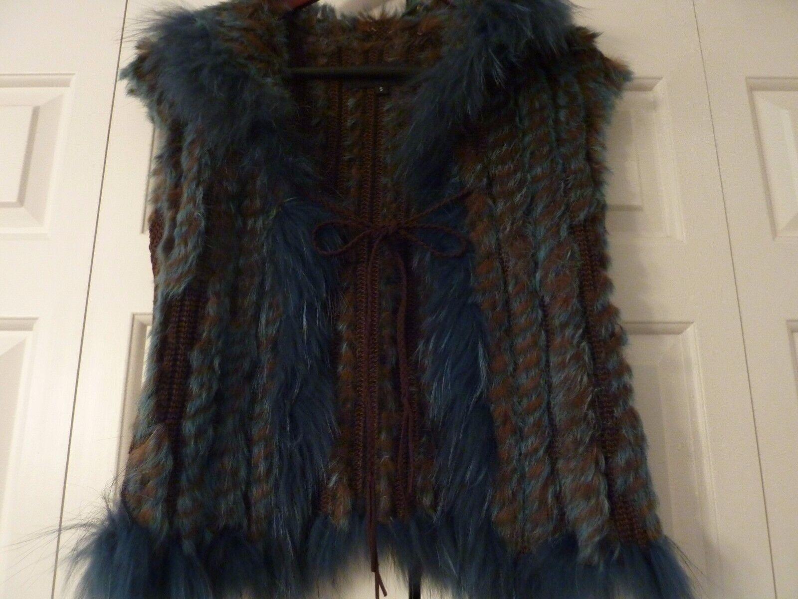 DANA STEIN Size S bluee Brown Fur Vest EUC