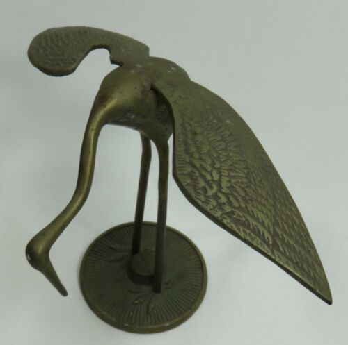 Vintage Solid Brass Stork Heron Crane Bird Figurine Wings Spread 7""