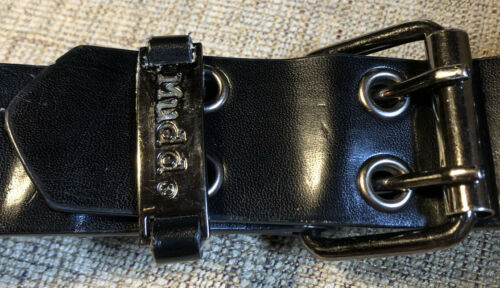 MUDD BELT BLACK LEATHER SILVER BUCKLE S/M SMALL/ME