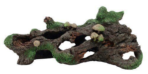 NEW Marina Hollow Log with Moss Cover//Mushroom Betta Aquarium Decor SHIPS FREE